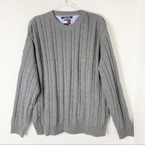 Tommy Hilfiger Gray Crewneck Cotton Sweater sz L